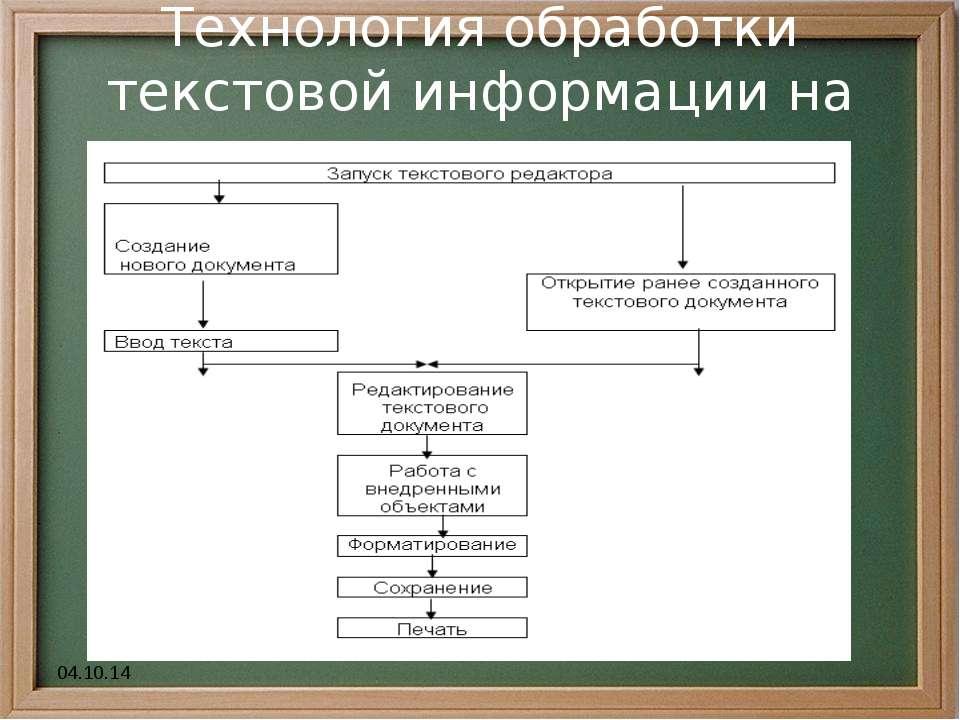 * Технология обработки текстовой информации на компьютере.