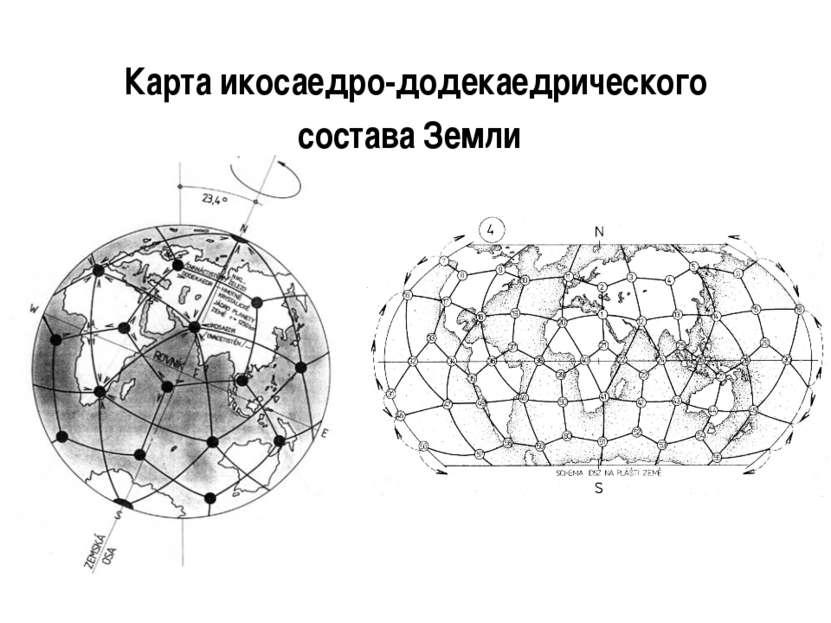 Карта икосаедро-додекаедрического состава Земли