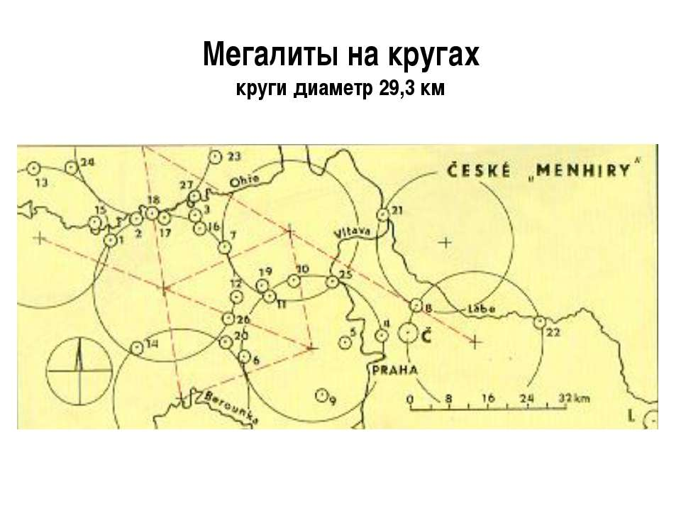 Мегалиты на кругах круги диаметр 29,3 км