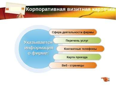 www.themegallery.com Корпоративная визитная карточка Сфера деятельности фирмы...