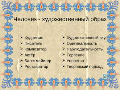 Человек - художественный образ Художник Писатель Композитор Актёр Балетмейсте...