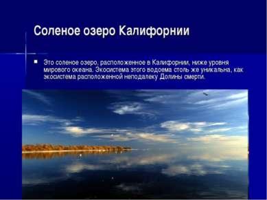 Соленое озеро Калифорнии Это соленое озеро, расположенное в Калифорнии, ниже ...