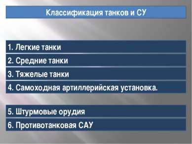 Классификация танков и СУ 1. Легкие танки 2. Средние танки 3. Тяжелые танки 4...