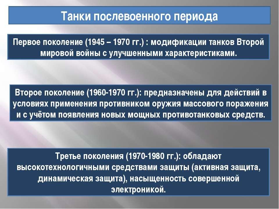 Танки послевоенного периода Первое поколение (1945 – 1970 гг.) : модификации ...
