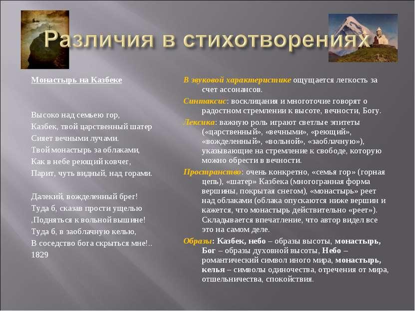 Монастырь на Казбеке Высоко над семьею гор, Казбек, твой царственный шатер Си...