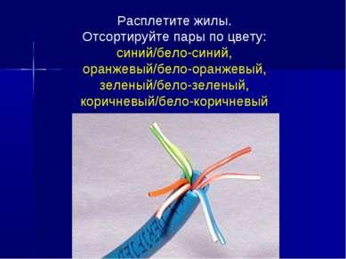 Расплетите жилы. Отсортируйте пары по цвету: синий/бело-синий, оранжевый/бело...
