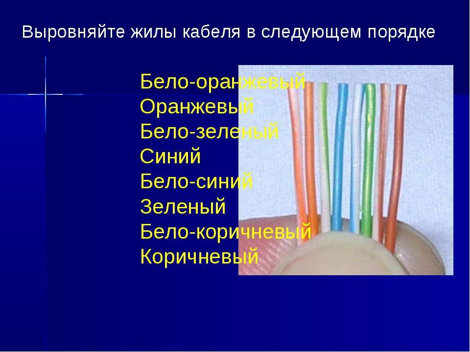 Выровняйте жилы кабеля в следующем порядке Бело-оранжевый Оранжевый Бело-зеле...