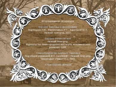 Использованная литература: Борское Заволжье в фотографиях Варенцова Л.Ю., Вас...