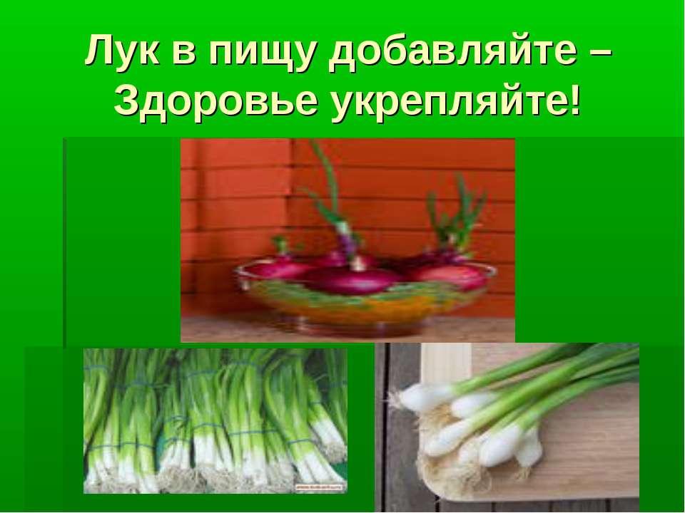 Лук в пищу добавляйте – Здоровье укрепляйте!