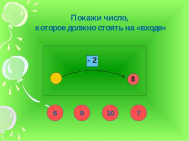 Покажи число, которое должно стоять на «входе» 6 9 10 7