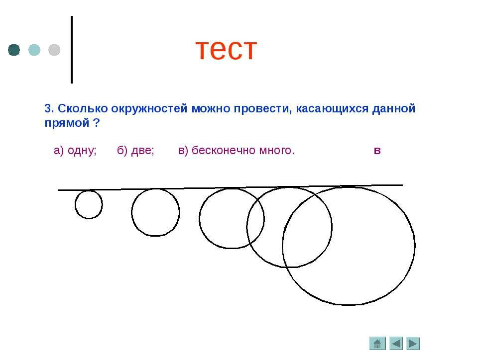 3. Сколько окружностей можно провести, касающихся данной прямой ? а) одну; б)...