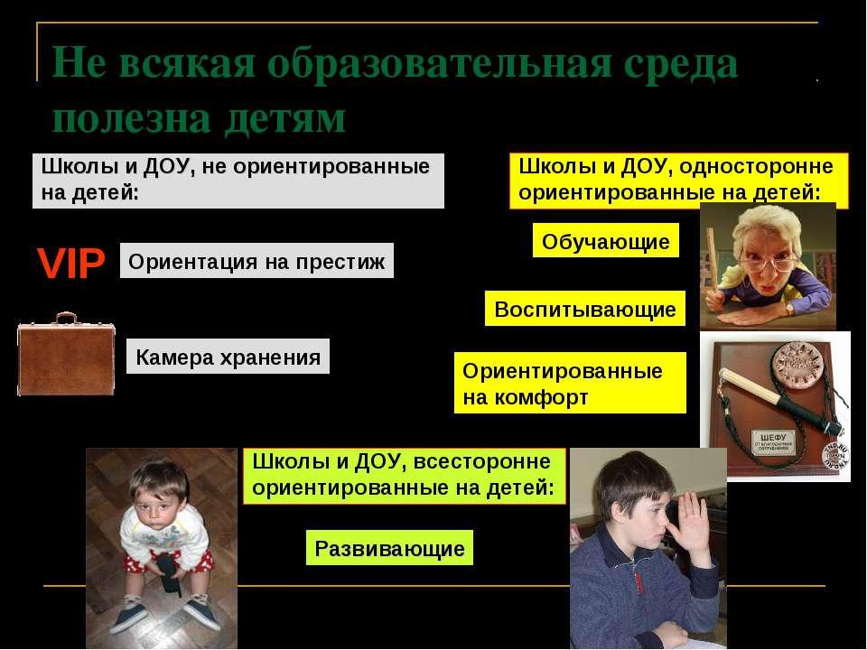 Не всякая образовательная среда полезна детям Школы и ДОУ, не ориентированные...