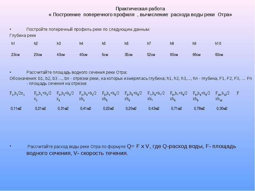 Практическая работа « Построение поперечного профиля , вычисление расхода вод...