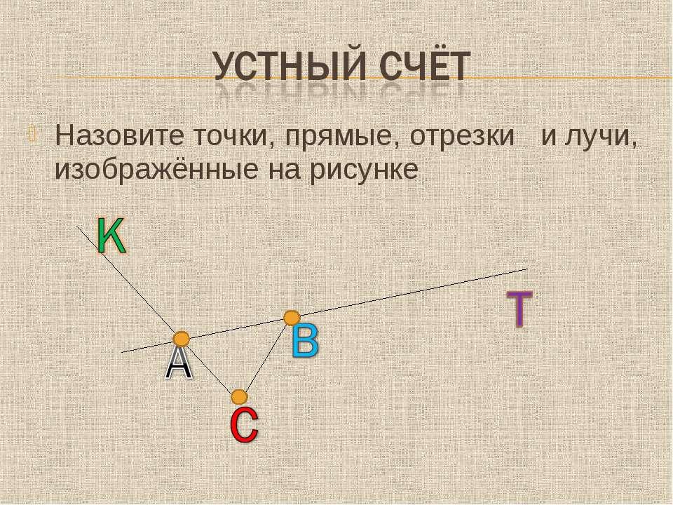 Назовите точки, прямые, отрезки и лучи, изображённые на рисунке