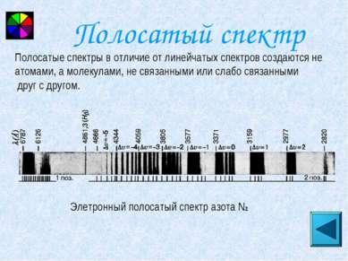 Полосатый спектр Элетронный полосатый спектр азота N2 Полосатые спектры в отл...