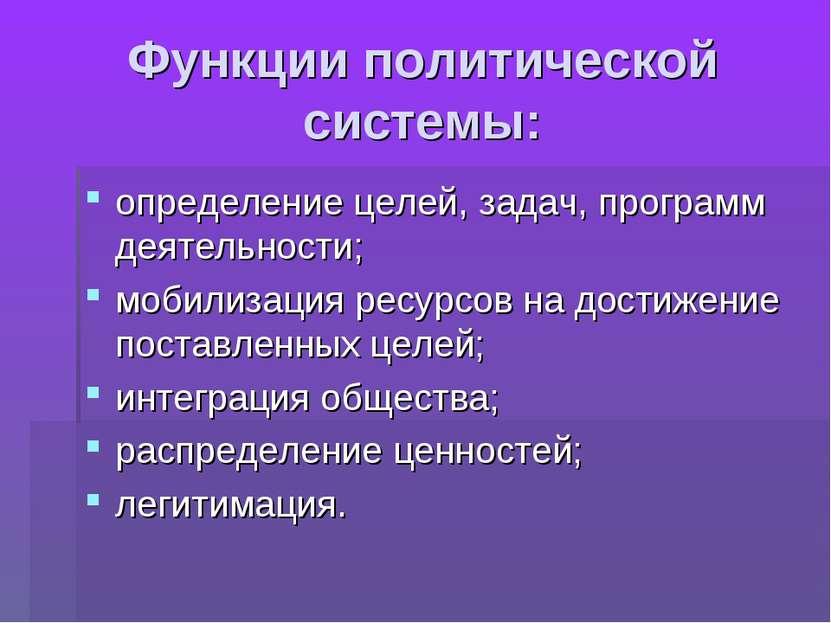 Функции политической системы: определение целей, задач, программ деятельности...