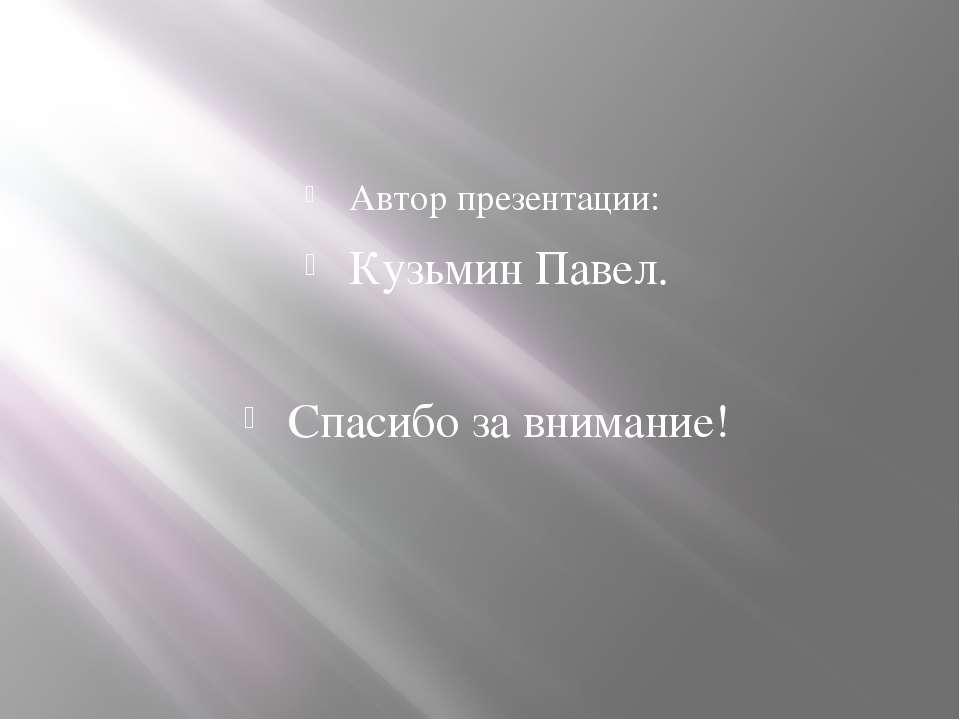 Автор презентации: Кузьмин Павел. Спасибо за внимание!