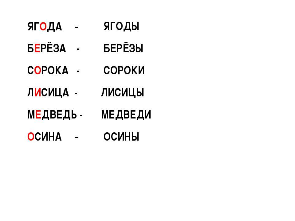 ЯГОДА - БЕРЁЗА - СОРОКА - ЛИСИЦА - МЕДВЕДЬ - ОСИНА - ЯГОДЫ БЕРЁЗЫ СОРОКИ ЛИСИ...