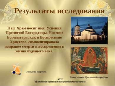 Результаты исследования МОУ Тулиновская средняя общеобразовательная школа Наш...