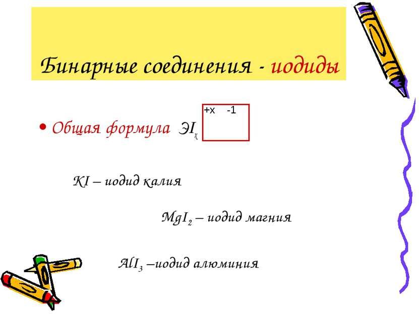 Бинарные соединения - иодиды Общая формула ЭIx -1 +x KI – иодид калия MgI2 – ...
