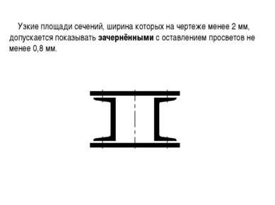 Узкие площади сечений, ширина которых на чертеже менее 2 мм, допускается пока...