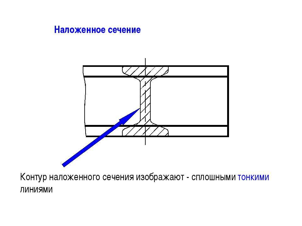 Наложенное сечение Контур наложенного сечения изображают - сплошными тонкими ...