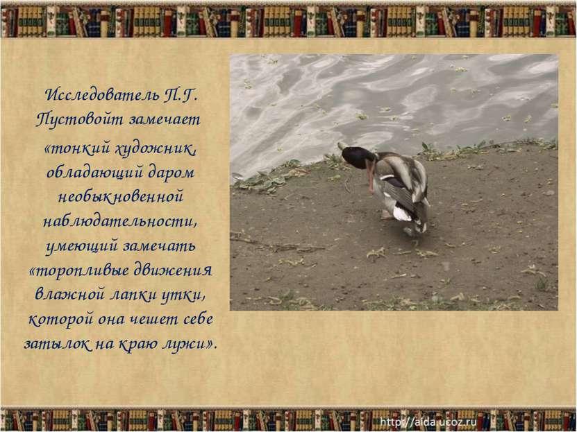 Исследователь П.Г. Пустовойт замечает «тонкий художник, обладающий даром необ...