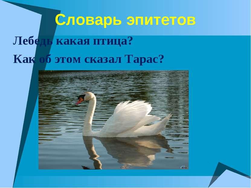 Словарь эпитетов Лебедь какая птица? Как об этом сказал Тарас?