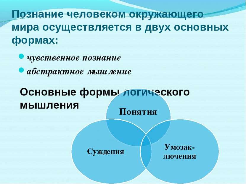 Познание человеком окружающего мира осуществляется в двух основных формах: чу...