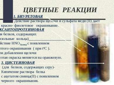 ЦВЕТНЫЕ РЕАКЦИИ 2. КСАНТОПРОТЕИНОВАЯ (для белков, содержащих бензольные кольц...