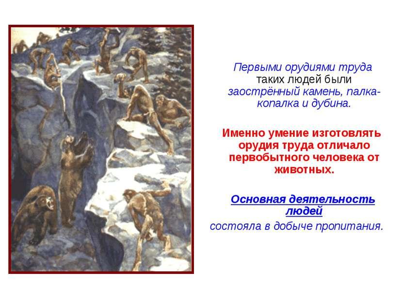 Первыми орудиями труда таких людей были заострённый камень, палка-копалка и д...