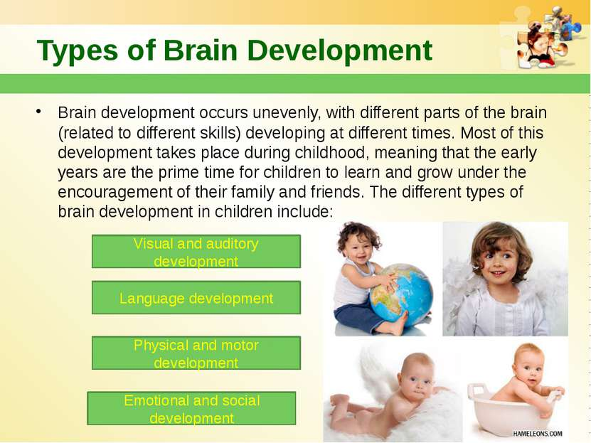 Types of Brain Development Brain development occurs unevenly, with different ...