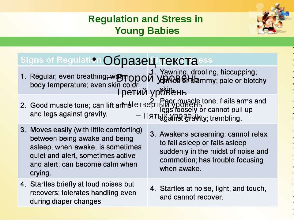 Regulation and Stress in Young Babies