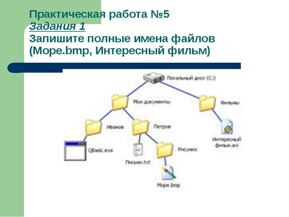 Практическая работа №5 Задания 1 Запишите полные имена файлов (Море.bmp, Инте...