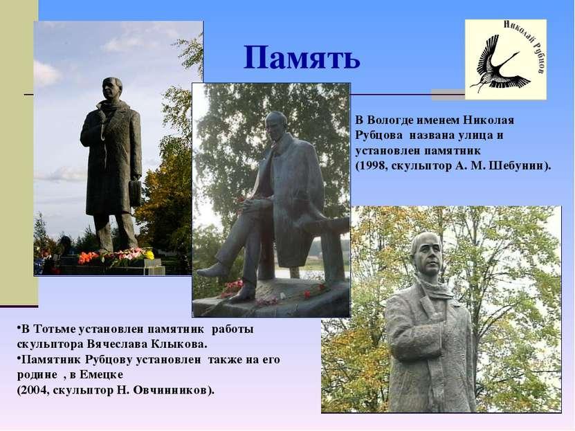 Память В Вологде именем Николая Рубцова названа улица и установлен памятник (...