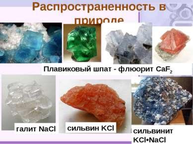 Распространенность в природе галит NaCl сильвин KCl сильвинит KCl•NaCl Плавик...