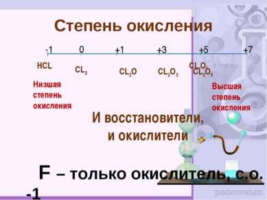 Степень окисления НCL CL2O7 F – только окислитель, с.о. -1 -1 0 +1 +3 +5 +7 C...