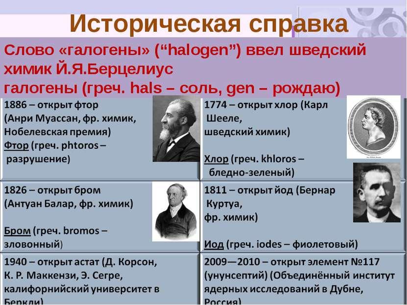 """Историческая справка Слово «галогены» (""""halogen"""") ввел шведский химик Й.Я.Бер..."""