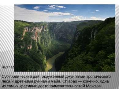 Чьяпас Субтропический рай, окруженный джунглями тропического леса и древними ...