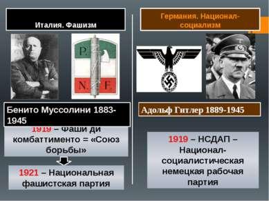 Италия. Фашизм Германия. Национал-социализм 1919 – Фаши ди комбаттименто = «С...