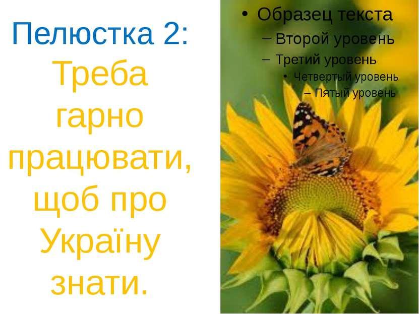 Пелюстка 2: Треба гарно працювати, щоб про Україну знати.
