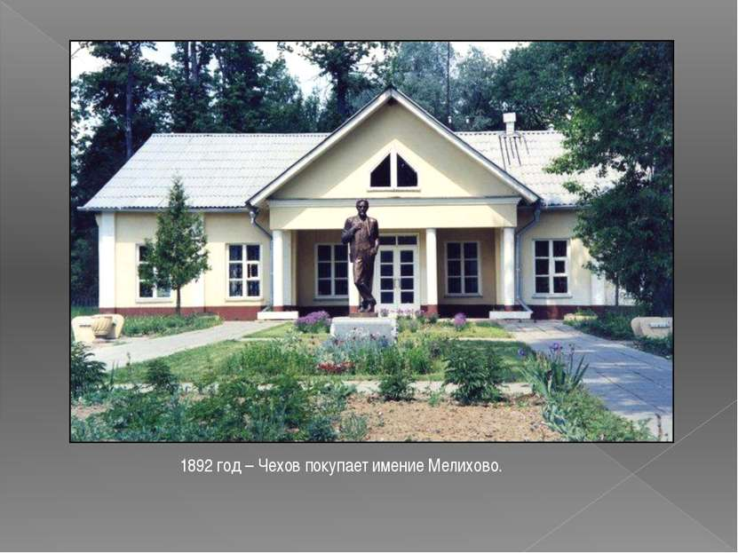 1892 год – Чехов покупает имение Мелихово.