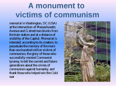 A monument to victims of communism memorial in Washington, DC (USA) at the in...