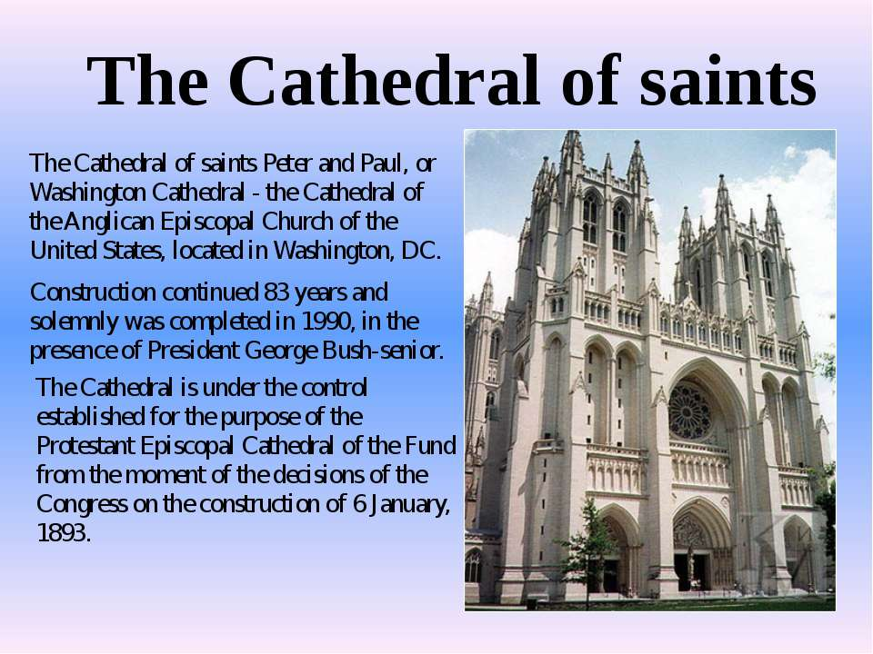 The Cathedral of saints The Cathedral of saints Peter and Paul, or Washington...