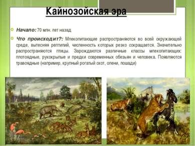 Кайнозойская эра Начало: 70 млн. лет назад Что происходит?: Млекопитающие рас...