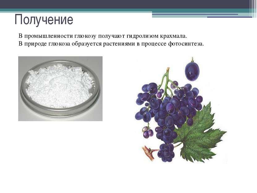 Получение В промышленности глюкозу получают гидролизом крахмала. В природе гл...
