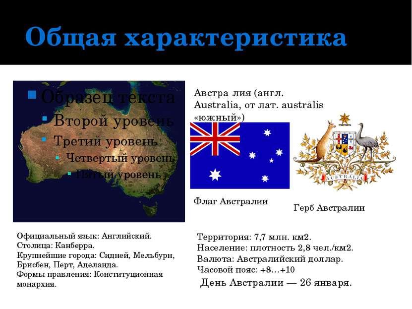 Общая характеристика Австра лия (англ. Australia, от лат. austrālis «южный») ...