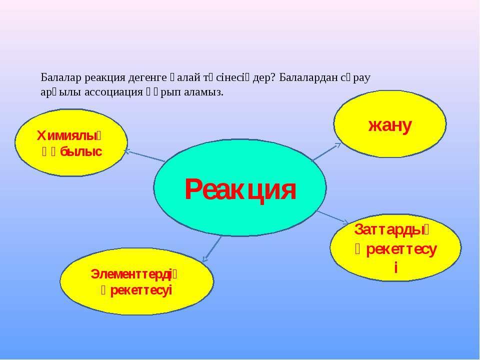 Реакция Химиялық құбылыс жану Заттардың әрекеттесуі Элементтердің әрекеттесуі...