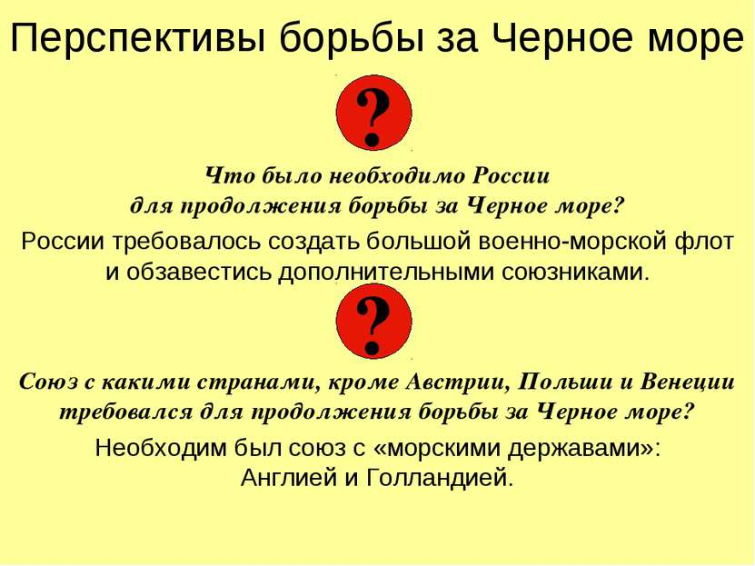 Перспективы борьбы за Черное море Что было необходимо России для продолжения ...