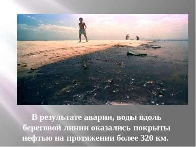 В результате аварии, воды вдоль береговой линии оказались покрыты нефтью на п...